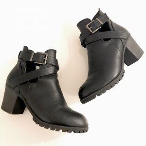 Black Heeled Booties with Buckle